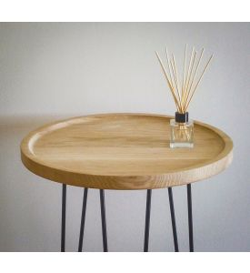 Retro Round Oak Lamp Table