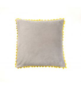Grey and Yellow Velvet Cushion