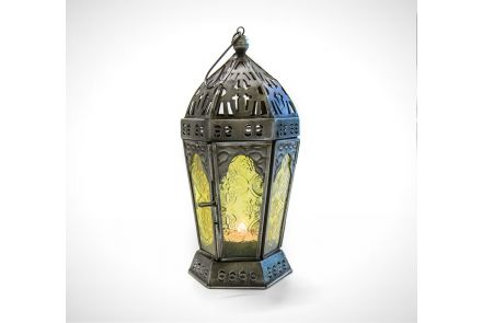 Yellow Indian Glass Lantern
