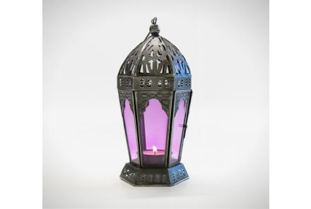 Pink Indian Glass Lantern