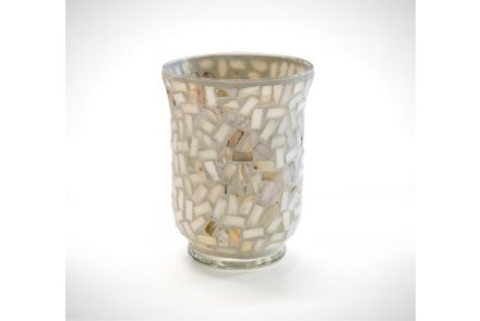 Cream Mosaic Candle Holder