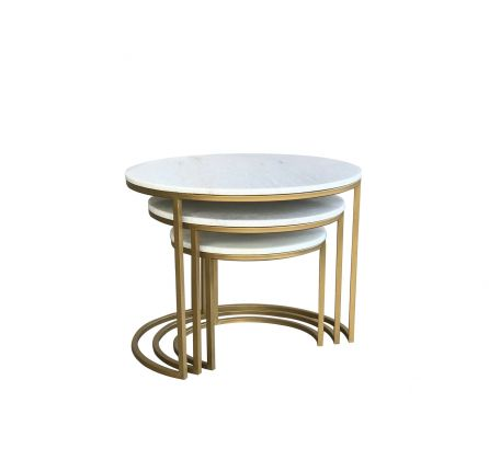 Beth Brass and Marble Nest of 3 Tables
