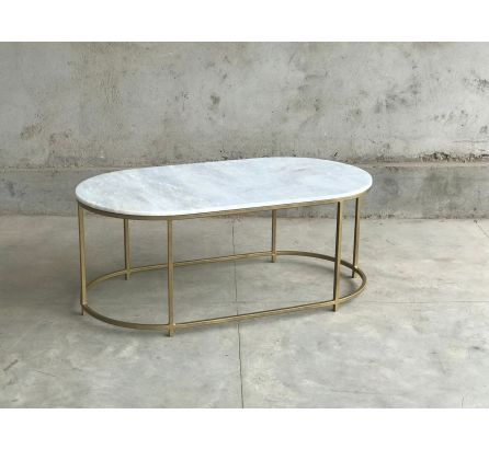 Beth Brass and Marble Large Coffee Table