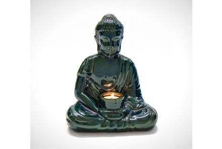 Dark Green Buddha Candle Holder