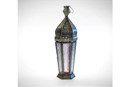 Tall Indian Glass Lantern