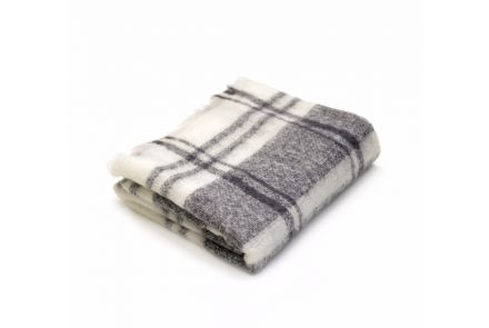 Grey and Cream Checked Blanket