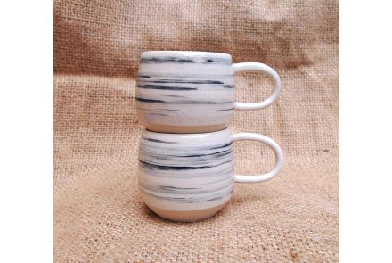 Feather Striped Coffee Cups