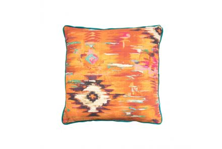 Abstract Orange and Teal Cushion