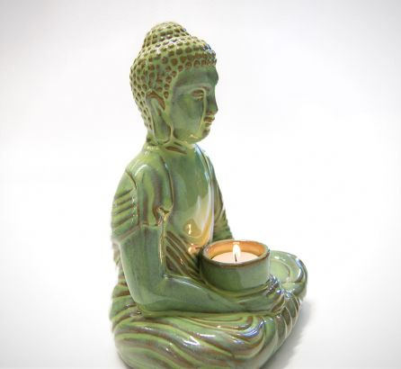 Green Buddha Candle Holder