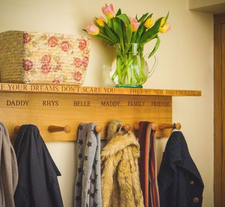 Coat Hooks with Hat Shelf