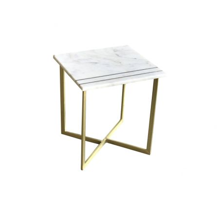 Lillian Marble and Inlay Side Table