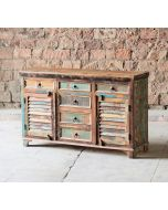 Mary Rose Reclaimed 6 Drawer 2 Slatted Door Sideboard